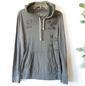 American Eagle Grey Graphic Hoodie Sweatshirt Smal